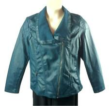 Womens Metaphor Jacket Plus Size 1X Faux Leather Zip Front Zippered Pockets Teal