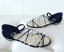 2017 CHANEL BLACK SUEDE SILVER GOLD LEATHER GLADIATOR STRAPPY SANDALS 39.5