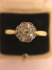 Antique Victorian 18ct 18k Platinum Yellow Gold Old Cut Diamond Cluster Ring