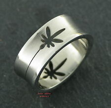 Laser Cut Ring CANNABIS Tattoo Style Stainless Steel