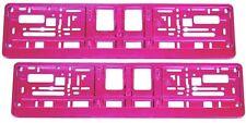 2 Stück Kennzeichenhalter - Chrom PINK Hochglanz - NEU! Nummernschildhalter Satz