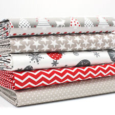 FQ Bundle - MODERN CHRISTMAS Red White Grey Christmas x 5 100% cotton fabric #1