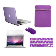 "5in1 Crystal PURPLE Case for Macbook PRO 13"" + Keyboard Cover + LCD + Bag +Mouse"