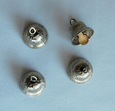VINTAGE 4 TINY SMALL SILVER METAL BELL CHARMS PENDANTS BEADS 1/2 inch