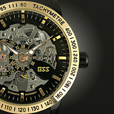 ESS Luxury Mens Skeleton Mechanical Sport Wrist Watch Black Automatic Stainless