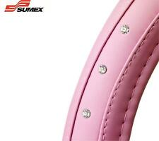 Sumex Car steering wheel glove cover PINK DIAMOND SOFT LEATHER sleeve bling