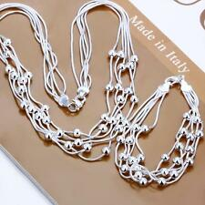 925 Silver filled bracelet necklace set charm women's beads fashion jewelry