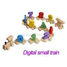 Digital Number Wooden Train Figures Railway Kids Wood Mini Toy Educational  hv2n