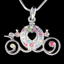 w Swarovski Crystal Rainbow ~Cinderella Wedding Pumpkin Carriage~ Charm Necklace