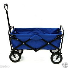 New Blue Mac Sports Collapsible Folding Utility Wagon Garden Cart Shopping Beach