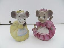 LOT OF 2 Vintage Mice Mouse Figurine Lady Female Girl Victorian Dress Clothing