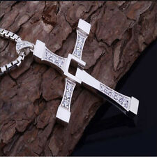 Graceful Pendant Unisex's Men Stainless Steel Cross Necklace Chain Silver/Gold