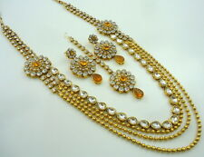 LCT GOLD TONE RANI HAAR LONG NECKLACE SET PARTY WEAR BRIDAL DIWALI JEWELRY