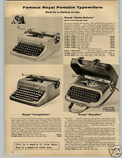 1958 PAPER AD Typewriter Royal Quiet Deluxe Companion Royalite Aristocrat Manual