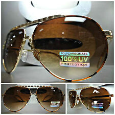 Mens Women CLASSIC VINTAGE 80s RETRO AVIATOR SUNGLASSES Gold Frame Gradient Lens