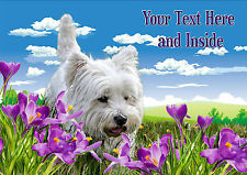 PERSONALISED WESTIE WEST HIGHLAND TERRIER MOTHERS DAY ANY OCCASION CARD + Insert