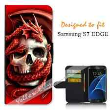 Samsung Galaxy S7 EDGE Wallet Flip Phone Case Cover Y00160 Skull Dragon