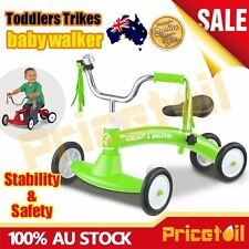 Green Kid Balance Bike Toddler Baby Slider Push Learn Walk Ride On Scooter Toy
