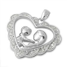 Silver Pendant with Cubic Zirconia Mother and Child Silver Clear CZ new 925