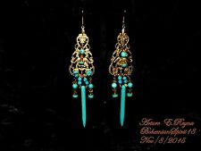Arturo E.Reyna VICTORIAN STYLE VINTAGE FILIGREE BRASS TURQUOISE CHARMS EARRINGS