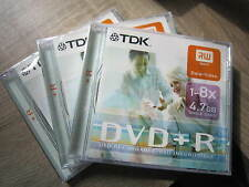 TDK-DVD+R-1-8X 4.7GB-DVD RECORDABLE- LOT DE 3 -/DVD INSCRPTIBLE-NEUFS