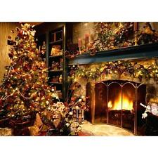 5x7FT Vinyl Christmas Tree Fireplace Studio Backdrop Photography Prop Background