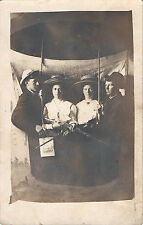 BO111 Real Photo Postcard AZO Unused RPPC Rifle Gun Armed Woman Hot Air Balloon