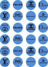 Blue Designer Labels Edible Cupcake / Fairy Cake Wafer Paper Toppers x 24