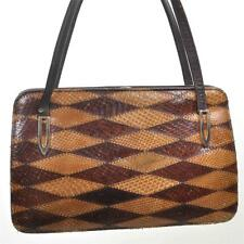 VINTAGE 1950's Snake Diamond Brown Leather Handbag Top Handle Bag Frame Ladylike