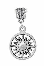 Sun Sunburst Solar Vergina Star Symbol Dangle Bead for European Charm Bracelet
