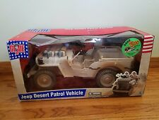 GI Joe Jeep Desert Patrol Vehicle WWII Willys Hasbro 2002 New machine guns ammo