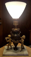 Antique Bronze and Brass Cherubs w/ Urn Table Lamp on Marble Base