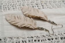 White Leather Earrings feathers Ladies Accessories Long Earrings Gift Ideas
