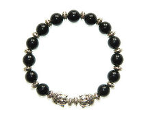 0040 - Beautiful Natural 8mm Black Agate Gemstone Bead Bracelet with Buddha Head