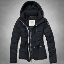 A&F Abercrombie & Fitch Jennie Parka Hoodie Quilted Jacket Coat Navy AF XS New