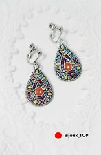 Boucles d`Oreilles Clips Argenté Metal Goutte Multicolore Orange Original EE 7