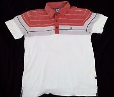 HANG TEN STRIPED POLO T SHIRT Medium SURF SKATE SAILING Vintage Style