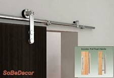 6 ft Modern Stainless Steel Sliding Barn Wood Door Hardware Set