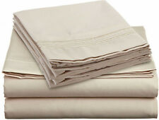 NEW SOFT WRINKLE FREE COTTON FEEL BED SHEETS SET DEEP POCKET KING SIZE IVORY !