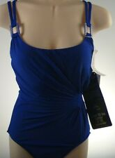 Miraclesuit 1 piece Swimsuit Sz 8 Lisa Jane $148 Solid Blue Look 10 lbs thinner