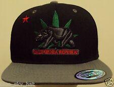 CALIFORNIA REPUBLIC FLAG BEAR MARIJUANA WEED POT HEMP KUSH LEAF SNAPBACK CAP HAT