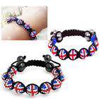Shamballa British Union Jack Bracelet Shiny Crystal Ball 09 Disco Beads Unisex