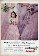 1957 Douglas Airlines DC- 7 Mainliners Young Girl at Wedding  PRINT AD