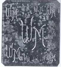Große Monogramm Schablone WM   Jugendstil  Weißblech 15,5 x 18 cm Weissstickerei