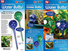 2 Self Watering Plant Bulbs Glass Water Globes Indoor Outdoor Automatic Holiday