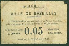 NECESSITE 5 CENTIMES VILLE DE BAZEILLES ETAT: TB- lot 501