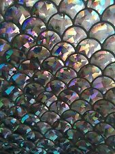 CHARCOAL MERMAID SCALE HOLOGRAM 4-WAY STRETCH SPANDEX FABRIC BY THE YARD