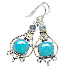 "Larimar, Blue Topaz 925 Sterling Silver Earrings 1 3/4"" Ana Co Jewelry E342579"