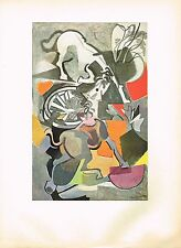 1940's Old Vintage Andre Beaudin Chevaux Exasperes Horse Offset Litho Art Print