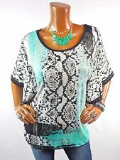 JM COLLECTION Womens Top L NEW Spring Summer Shirt Blue Green White Stretch Stud